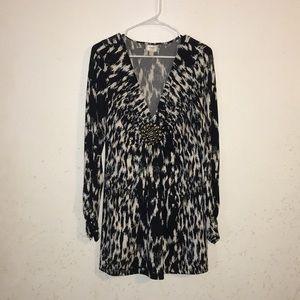ECI New York black and white L/S dress szL